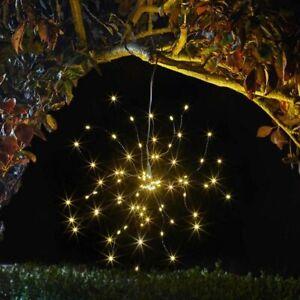 Solar Powered Hanging Starburst Pendant Light Multi Function LED Garden Lantern