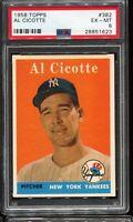 1958 Topps Baseball #382 AL CICOTTE New York Yankees PSA 6 EX-MT