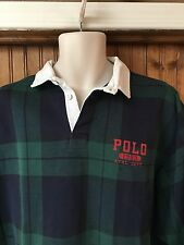 vtg Polo by Ralph Lauren 1993 Athletic Department Plaid Blue Green L/S Men's XL