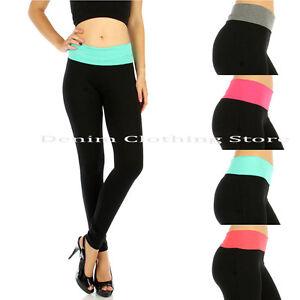 1pc Women Waistband Cotton Full Length Leggings Fold over Yoga Gym Workout Pants
