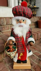 "Holzkunst Christian Ulbricht Santa Nutcracker Mac Nic? Scottish Plaid RARE 17""!!"