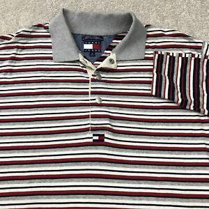 Vintage Tommy Hilfiger Jeans Polo Shirt Mens M Blue Long Sleeve Flag 90s Logo