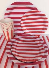Party Supplies Red Stripes Bulk T/Cover Plates & Glasses Perfect for 20 Guests