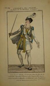GRAVURE COULEUR PORTRAIT COSTUME THEATRE HOMME ROI ESPAGNE ESPANA COMEDIE1820