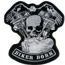 BIKER BORN EAGLE DISTRESSED SKULL & MOTOR, Jacket Vest PATCH - 11 x 10 inch