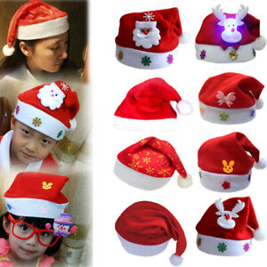 Glowing Christmas Hat With LED Light Party Santa Claus Cap Xmas Costume