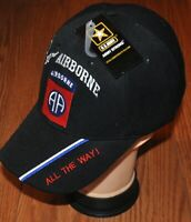 New Black 82nd Airborne Division US Army Adjustable Hat All The Way Licensed