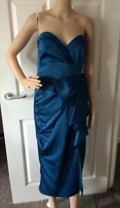 BNWT V By Very Bow Front Satin Pencil Midi Dress Blue Size 16