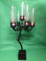 Handmade 7 Arm Traditional Wedding Candelabra Glass Shade Metal Candle Holder