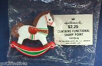 Hallmark PIN Christmas Vintage ROCKING HORSE White SMALL Holiday Brooch NEW MIP