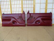 92-96 Bronco or F Series Pickup Truck LEFT RIGHT MAROON Crank Door Panel Set