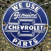 VINTAGE CHEVROLET PORCELAIN SIGN CHEVY TRUCK AUTO PARTS USA OIL LUBE GAS SERVICE