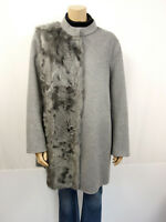 1350€ NEU RIANI RR Designer Mantel Gr.46 US16 Lammfell Pelz Besatz Coat Grau