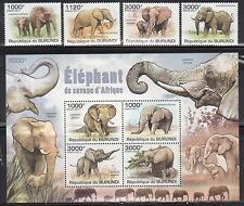 Burundi 847-51 Elephants Mint NH