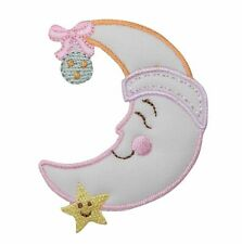 Childrens Pastel Puffy Moon and Star Iron On Applique/Embroidered Patch