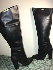 Women's CALVIN KLEIN Leather Averieover Knee Tall Boots Sz 9M