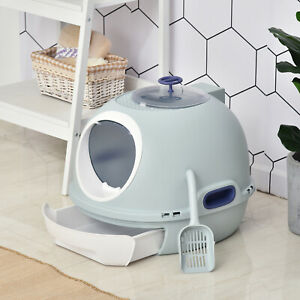 Cat Litter Box Pet Toilet With Scoop Enclosed Drawer Skylight Easy To Clean