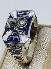 18k &10k solid white gold Mens Antique Masonic Ring blue & white Sz 8 3/4 ( 7.7g for sale