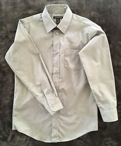 BOYS BUTTON-DOWN LONG SLEEVE DRESS SHIRT by GEORGE size Large 10-12  PEWTER GRAY