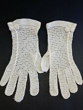 Vintage Ivory Crocheted Ladies Gloves With Buttons