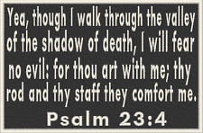 PSALM 23:4  Christian Military Tactical Patch W/ VELCRO® Brand Fastener Emblem