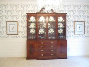 Baker Furniture Mahogany Chippendale Historic Charleston ChinaCabinet Breakfront