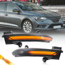 Smoke Lens Dynamic LED Side Mirror Blink Light for 16-up Renault Megane Talisman