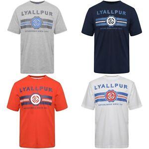 Mens Lyallpur Logo Stripe Print 100% Cotton Round Crew Neck T Shirt S M L XL XXL
