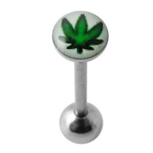Marijuana Leaf on White Background Logo Tongue Bar Piercing Jewellery