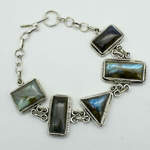 """Solid 925 Sterling Silver Natural Labradorite Bracelet Jewelry Size 7.5"""" TR-650"""