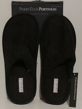 NEW!! Perry Ellis Portfolio Black Premium Slippers House Shoes Size M (8-9)