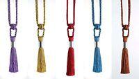 PAIR MISTRAL Design Metal Collar Tassel Curtain Tiebacks Holdbacks 5 Colours