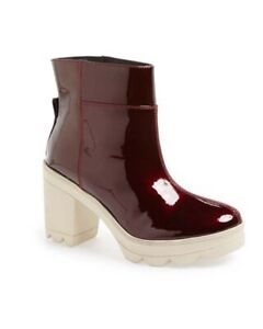 10 Crosby Derek Lam Red Burgundy Lynne Shiny Patent Leather Combat Boots 8.5M