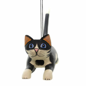 Home & Garden LEAPING BLK/WHT CAT BIRDHOUSE Albesia Wood Hand Carved Se3880108