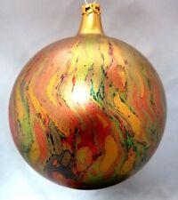 "VINTAGE Ornament MERCURY ART Glass Ball RED GREEN GOLD CHRISTMAS 3"""