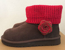 UGG Kids Girls Youth 4 Brown Red Mini Southern Belle Boots Winter 1003215K CHO