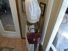 "Vtg Oroton Genuine Leather Crossbody/ Shoulder Handbag Signature Rusted Brown"""