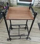 Mid Century Walnut Black Iron /Steampunk Typewriter End Table   (BM-T434)