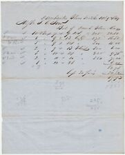 RARE Manuscript Receipt Billhead- Dunbarton Glass Works 1849 Vernon NY - Bottles