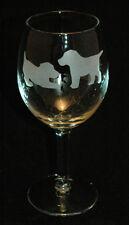 Etched Playful Labrador Retriever Puppies Medium Wine Glass