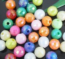 Free Ship 200Pcs Iridescent Mixed Acrylic Loose Round Ball Spacer Beads  6mm