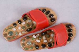Massage Slippers Sandal Reflex Acupuncture Foot Natural Pebble Stone Slippers