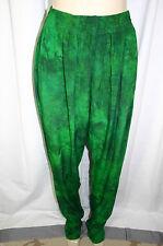 "Fengy Art To Wear Green Hummingbird Lizard Batik Print Rayon Pants 36"" Inseam"
