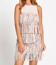 Polyester Sleeveless Dresses for Women with Fringe