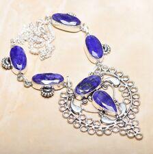 "Handmade Blue Sapphire Gemstone 925 Sterling Silver Necklace 18"" #N01296"