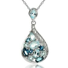 Sterling Silver London Blue, Blue and White Topaz Tonal Teardrop Necklace