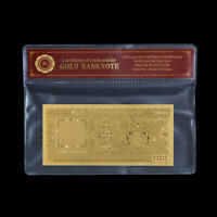 WR Myanmar Burma 10000 Kyats Gold Foil Banknote For Collector In COA Sleeve