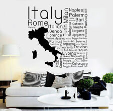 Vinyl Wall Decal Italia Italian Map Cities Room Decor Stickers (ig4410)