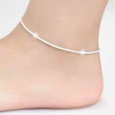 Women Elegant 925 Sterling Silver Wrap String Anklet Foot Chain Ankle Bracelet