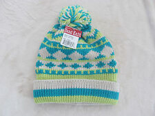 Turtle Fur Hand Knit Beanie Ski Hat-Pom Pom-Ivory/Teal/Green-Adult One Size-NWT